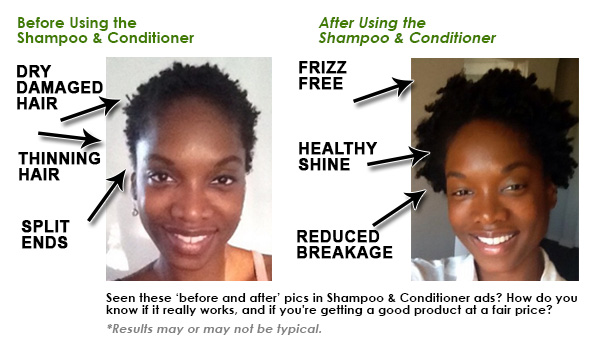 before after Hair shampoo and conditioners